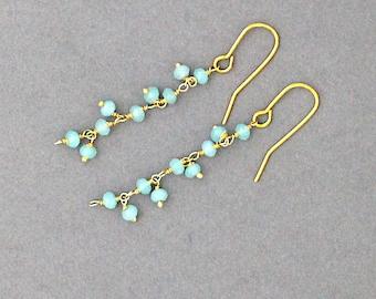 Gold & amanzonite chain earrings