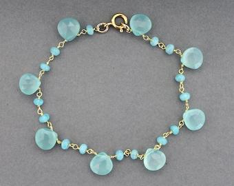 Gold & Aqua Chalcedony teardrop bracelet