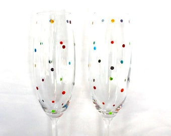 A pair of smartie dot champagne flutes