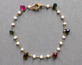 Gold, tourmaline & freshwater pearl bracelet