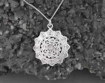 Silver filagree eastern star necklace