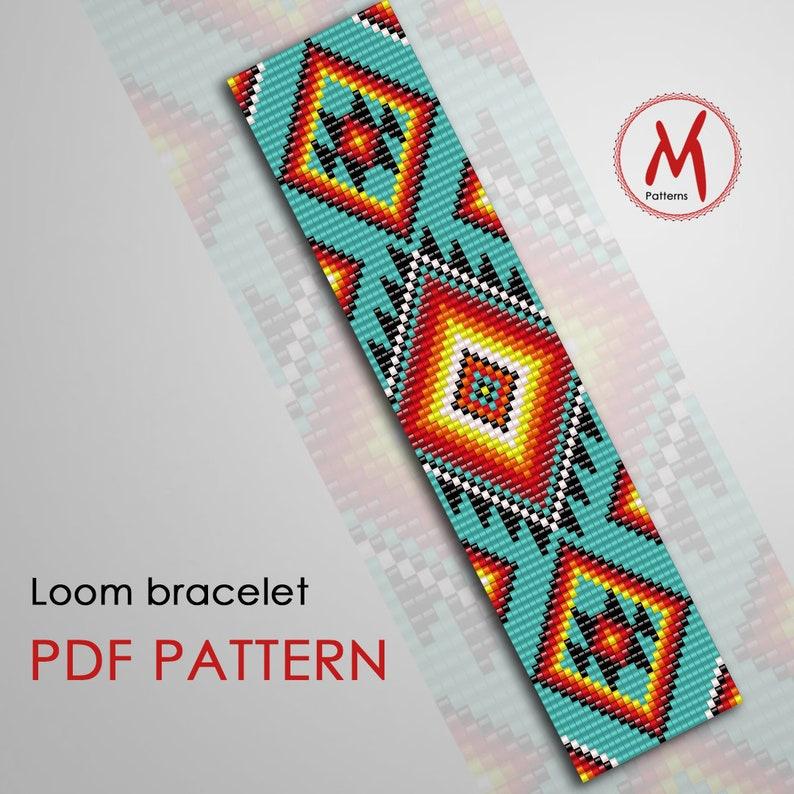 PDF instant download Native inspired Ethnic pattern Turquoise geometry Stripe Indian Loom bead pattern for bracelet miyuki delica 110