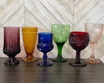 Vintage multicolored goblets mismatch mixed water goblets bohemian boho wine glasses set of 6