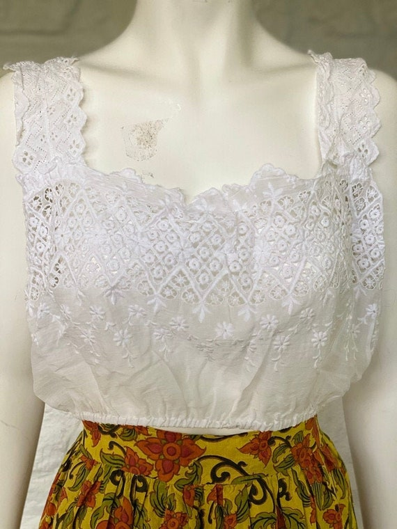 Vintage cotton eyelet crop top