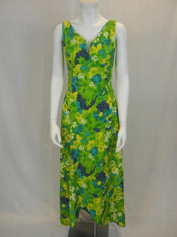 vintage floral jacquard long dress