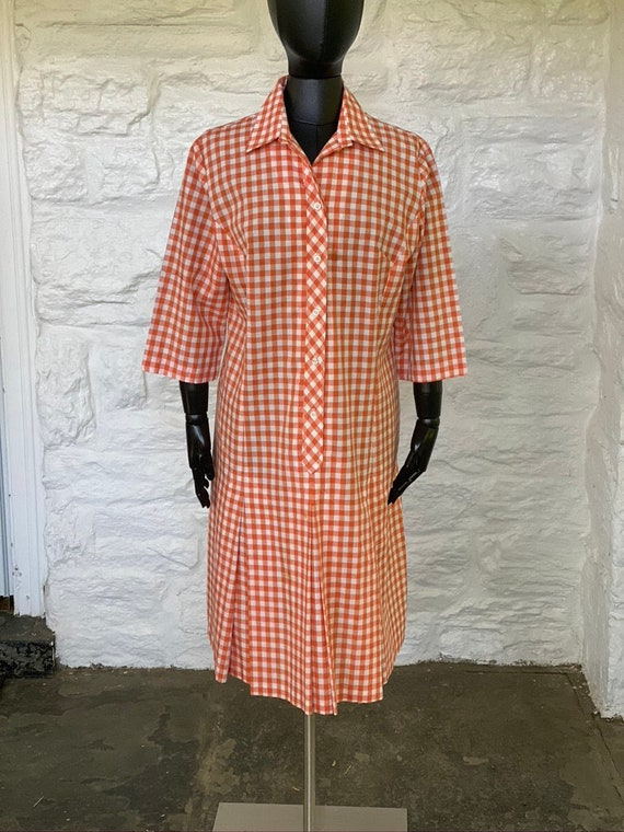 Vintage gingham drop waist dress