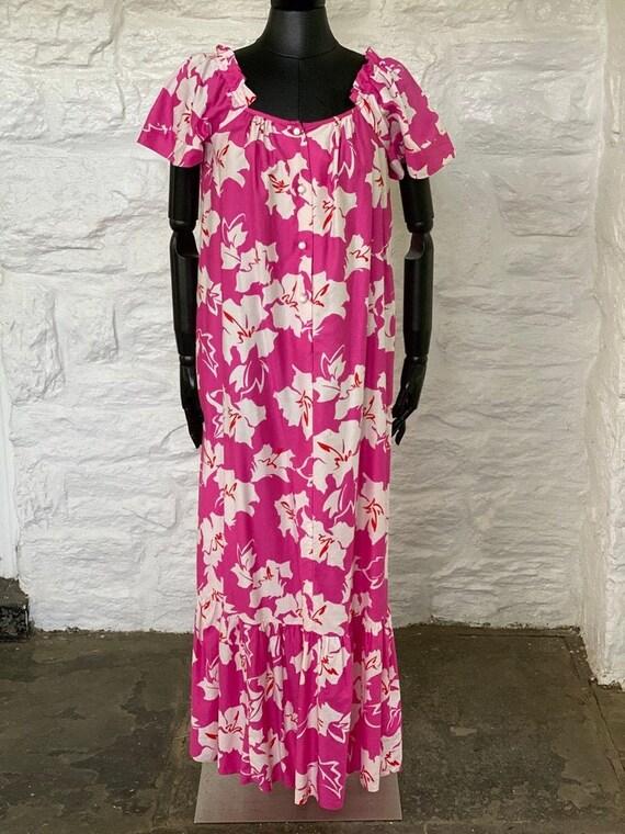 Vintage floral print long cotton dress