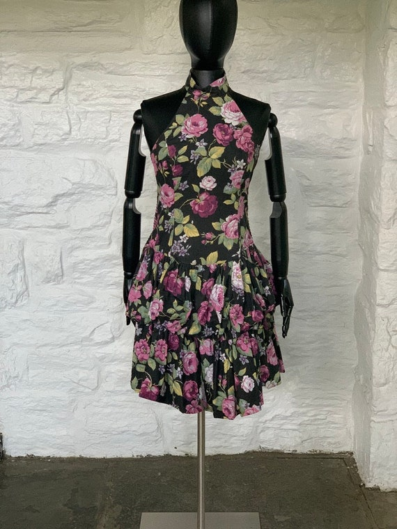 Floral print cotton halter dress
