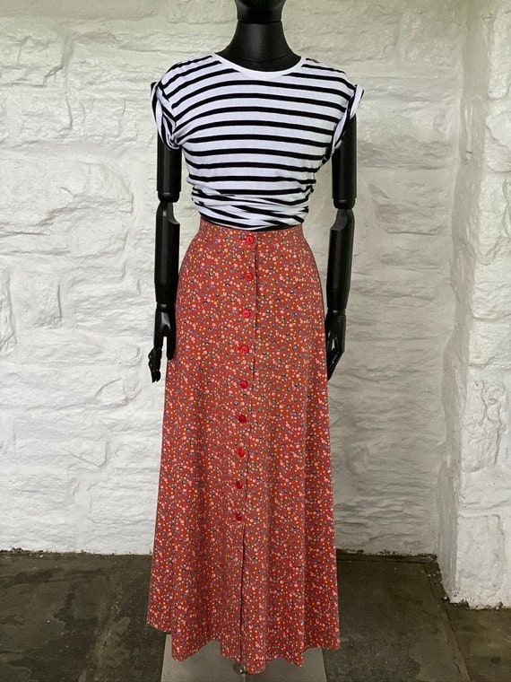 Daisy print cotton button down skirt