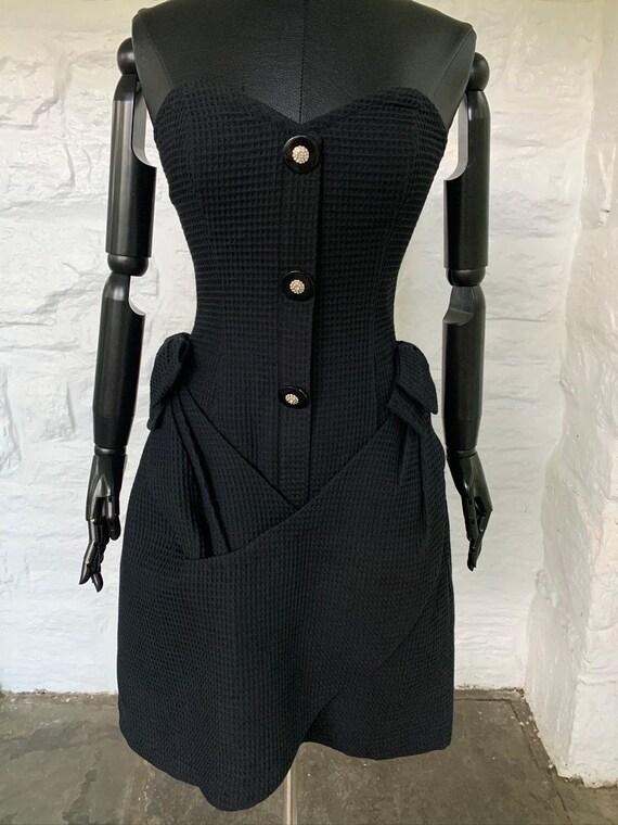 vintage seersucker fabric strapless dress