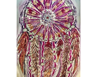 Hand Painted Original Glitter Acrylic Canvas Dream Catcher Lilac Fuchsia Coral High End Art Painting