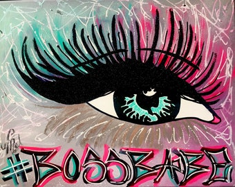 Game Changer Hand Painted High End Vice Color Lash Pop Art Original Canvas Boss Babe Glitter Artwork