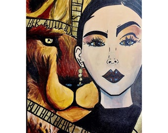 Hand Painted Pop Art Canvas Wall Art with Lion and Glitter Quote Feminine High End Art Painting