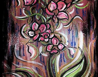 Hand Painted Original Orchid Glitter Wall Art Acrylic Canvas High End Art Painting