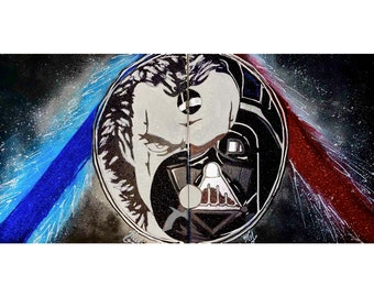 Star Wars Darth Vader David Prowse YingYang Pop Art Original Hand Painted Glitter Highend Wall Art