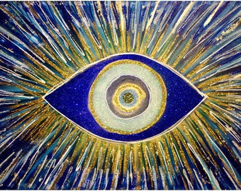 Hand Painted Evil Eye Glitter Acrylic Canvas Wall Art Original Painting Gold and Blue High End Art