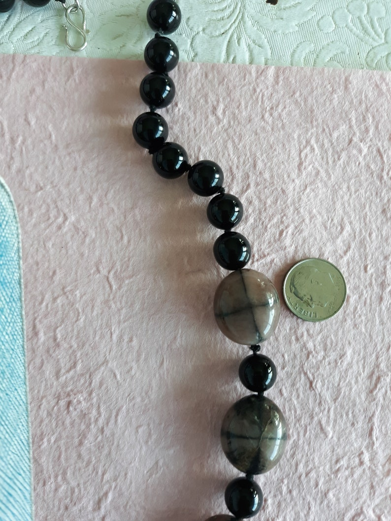 Classic Onyx and Art Beads with Sterling Silver Clasp
