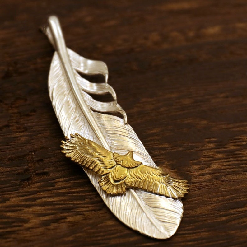 Eagle feather Native American tribe Sweater chain men gift Feather silver pendant Feather flying eagle pendant Feather necklace