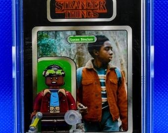 Stranger Things LUCAS SINCLAIR Custom Carded Minifigure Display Mini-figure