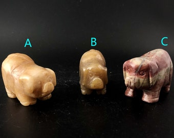 Gemstone Animal Pig Figurine Carving Stone Size 1.8 inch C01-38 Red Jasper Pig Animal Pig Crystal Carving Stone Jade Pig