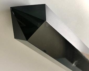 Exlarge Black Obsidian Tower, Black Obsidian Obelisk, Black Obsidian Point, Size. 12x2.65 inch (300x67.5mm) 1814g (4lb) L01-35