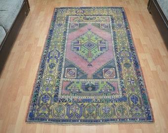 Home Decor Turkish Oushak 3x6 Rug Carpet Turkish kilim vintage rug Flower Bohemian Anatolian Wool Rug Tribal Wool Rug