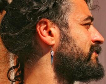 Blue triangle hoop earring for men/ Mens single geometric dangle earring/Alternative rocker cool earring
