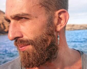 Silver feather earring for men/Single dangle earring / Boho mens earring