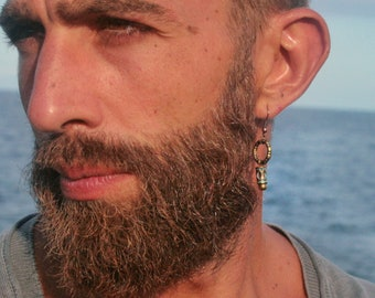 Blue hoop tube earring for men/ Mens single geometric dangle earring/Alternative rocker cool earring