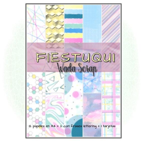 Colección de papel decorado digital imprimible para manualidades, scrapbook, agendas, tarjetas...