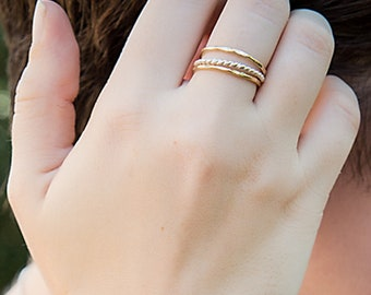 Twisted Stacking Ring Set - mixed metals