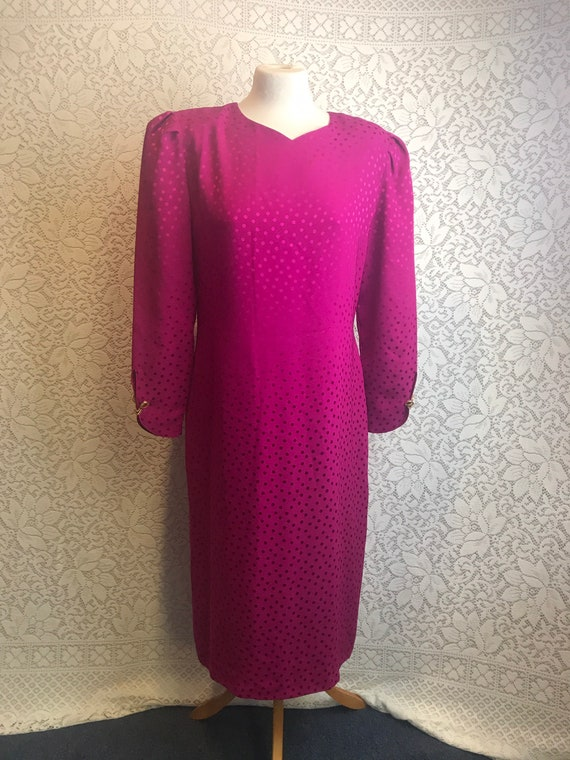 Bold pink spotty 1980's silky dress