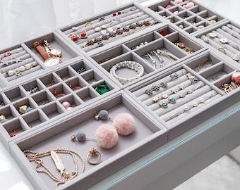 Plastic Jewelry Storage Box Bracelet Earrings Necklace Rings Display Showcase UK
