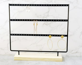Earrings Organizer Jewelry Display Stand,69 Holes 3-Tier Earring Holder Rack, Metal and Wood Basic Large Storage Earring Jewelry Display