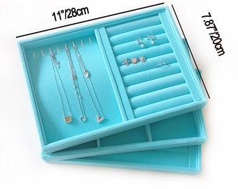 1pc Velvet Jewelry Trays Organizer, Jewelry Storage Display Trays Velvet for Drawer, Earring Necklace Bracelet Ring Organizer Case