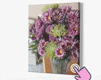 Shipping Included Wraparound Canvas Home Decor Garden Getty Villa Malibu Canvas Koi Detail with Water LiliesGreen /& Yellow