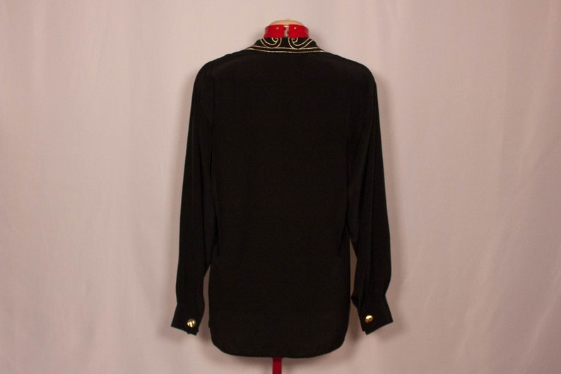 Vintage black women/'s blouse with gold embroidered collar