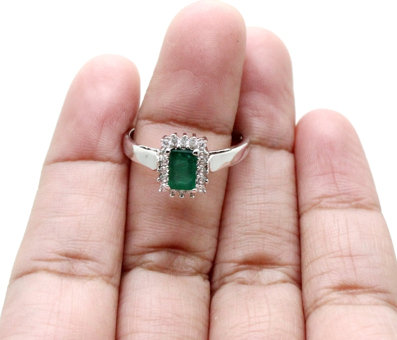 Gemstone Ring White CZ Ring 925 Sterling Silver Ring Natural Emerald Ring Handmade Jewelry 5*7 MM Rectangle Shape Emerald Ring