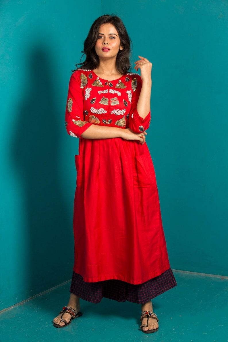 Mexican Gold 3D Sequins Hand-Embroidered Dress Linen Pants Beautiful Dress Handmade Bohemian Dress Wedding Dress Women\u2019s Indian Formal Dress
