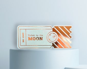 Ticket to the Moon - Ticket, greeting card with perforation to demolish