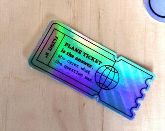 Holographic Sticker - Plane Ticket
