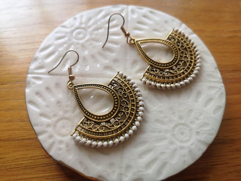 Boho Chic Jewellery Bronze Fan Shape White Wires earrings Antiqued Brass Earrings Rustic Bohemian Earrings Hippie Ethnic Earrings
