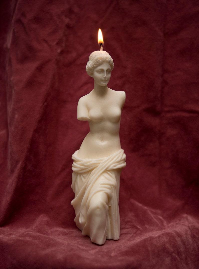 Venus de Milo Sculpture Bust Torso Altar Soy Wax Candle by image 0