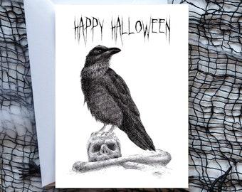 "Halloween card ""Happy Halloween"", raven on skull, art card, gift, postcard, greeting card, illustration, print in A6"