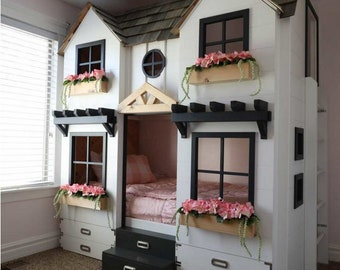 DIY House Bunk Bed Plan