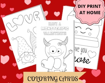 Kids Valentine's Coloring Cards/ Valentine's Day Kid's Activity/ 10 Printable Cards/ DIY Valentine's Cards for Kids/ Animals Monsters Gnomes