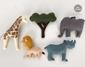 Jungle Animal Sewing PDF Patterns, Safari Animal Felt, Giraffe Elephant Rhino Lion, Digital Pattern, Instant DownloadFelt