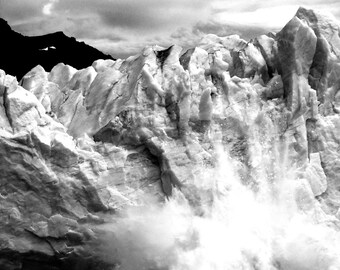 Limited Print of Glacier, Landscape Photography, Black and White, Patagonia Photography, Fine Art Photography Print Nature 21x31cm