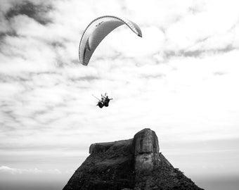 Limited Rio de Janeiro Fine Art Print, Landscape Photography, Nature Photography, Black and White Landscape, Pedra da Gávea, Paragliding
