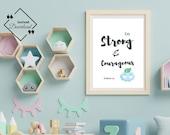 Baby Boy Nursery | Be strong and courageous | Joshua 1_9 | Boy's Room Décor | Nursery Wall Art | Nursery Décor Boy | Instant Downloads ↓↓↓